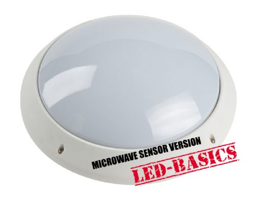LED-Basics, Wall Lighting, Burnham LED Circular Wall Light, IP44 rated, Opal, Microwave Sensor